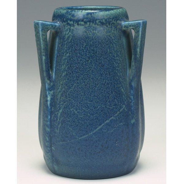 1213: Rookwood vase, blue and green matt glaze, 1921