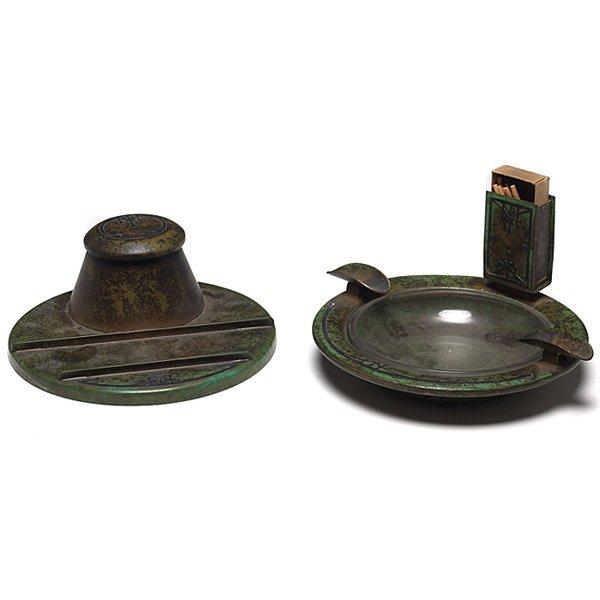 1224: Heintz ash tray, sterling on bronze