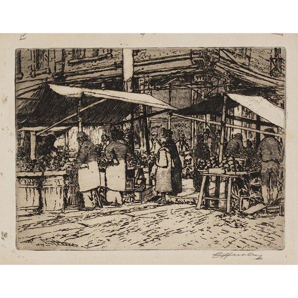1261: E.T. Hurley etching, street market scene