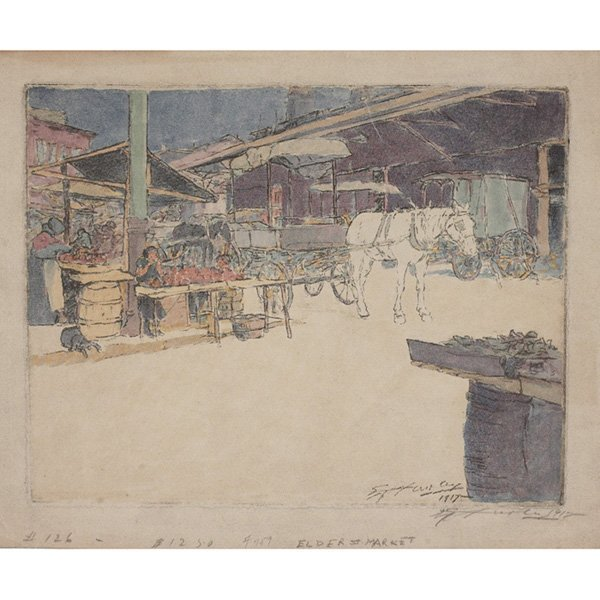 """1303: E.T. Hurley etching, """"Sixth St.. Market"""