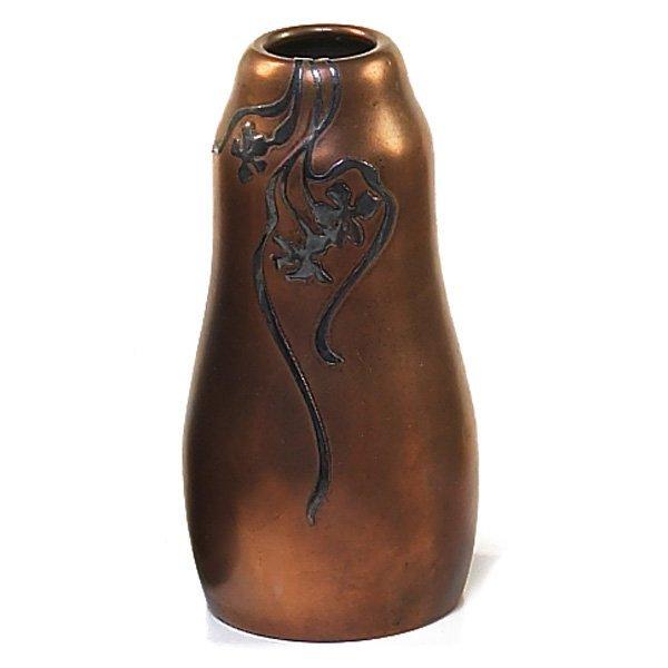1202: Heintz vase, sterling on bronze