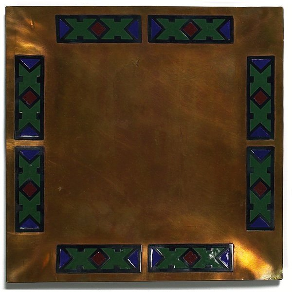 1203: The Art Crafts Shop tray, bronze