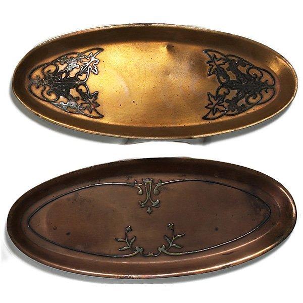 1207: Heintz trays, two, sterling on bronze
