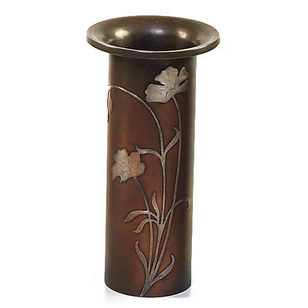 1209: Heintz vase, sterling on bronze,