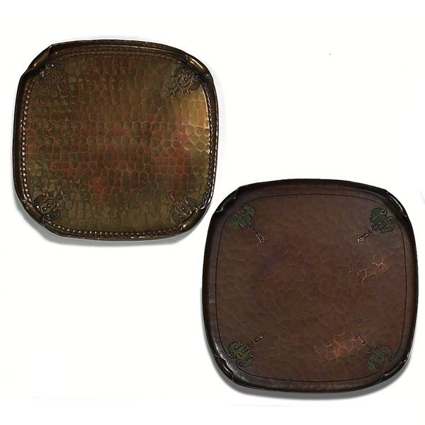 1210: Roycroft trays, two, hammered copper