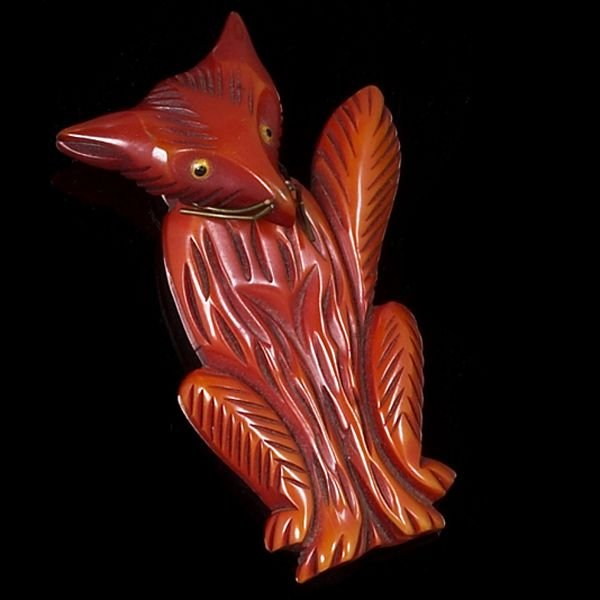 1308A: Bakelite pin, red fox moveable head