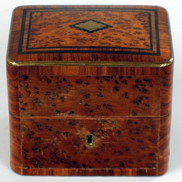 7: Burl Walnut Inkwell Box.