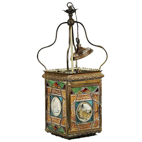 8: Metal and Leaded Glass Lantern
