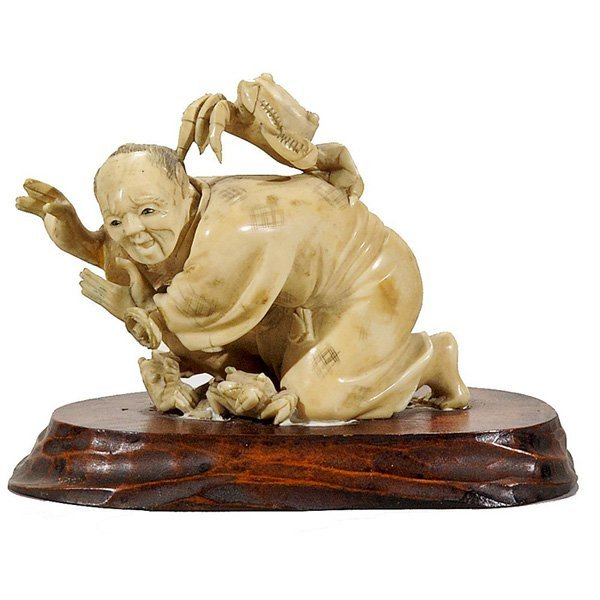 12: Early Japanese Carved Ivory Okimono