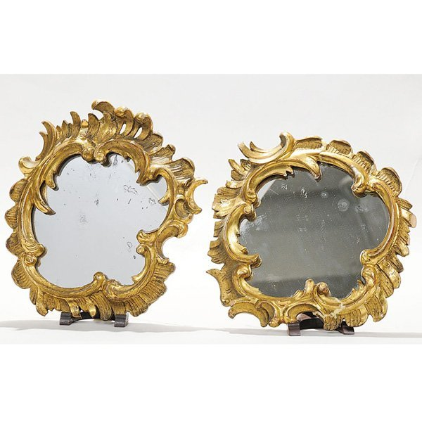 18: Rocco Carved Italian Mirrors, Pair