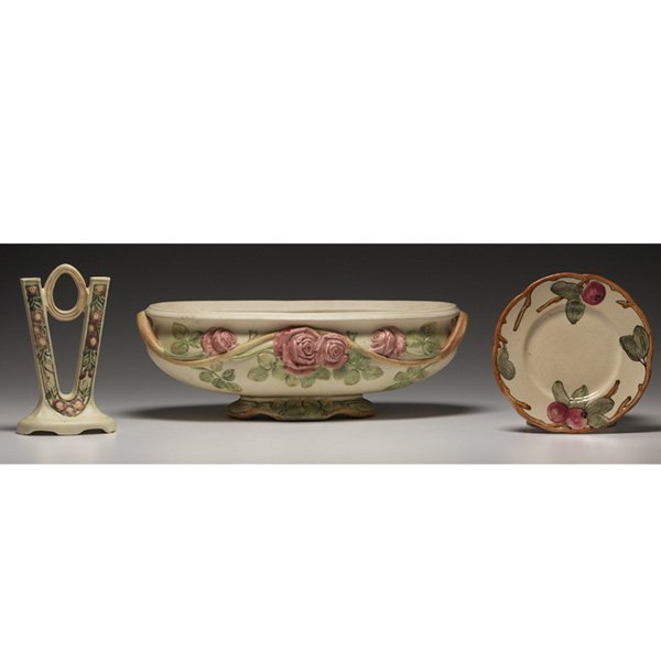 606: Weller Roma double bud vase, w/ Weller  plate and
