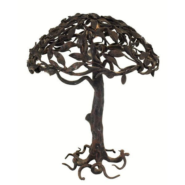 20: Arts & Crafts lamp, oak tree form