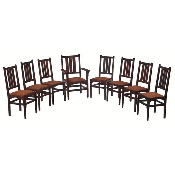 4: Gustav Stickley side chairs, #338, set of eight