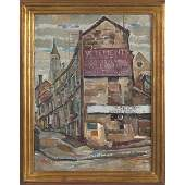 """550: Zoltan L. Sepeshy """"Market Scene"""" 1928, oil"""