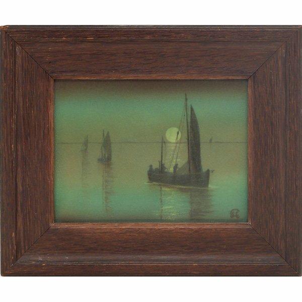 1201: Rookwood plaque, Green Vellum glaze, sailboats, S