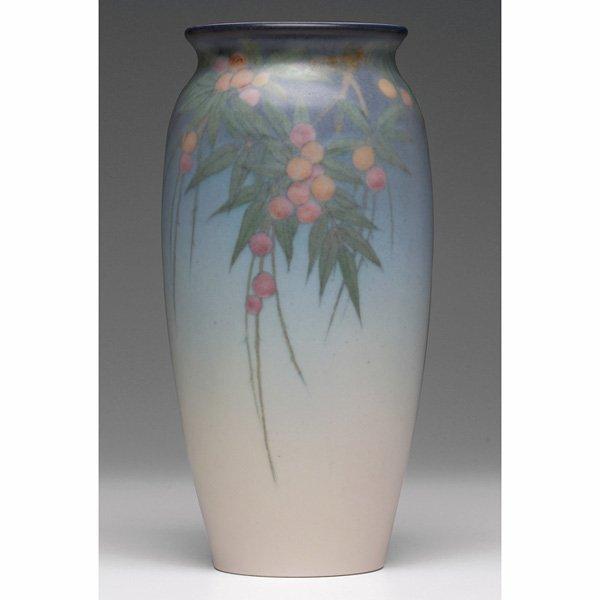 1202: Rookwood vase, Vellum glaze, Lenore Asbury
