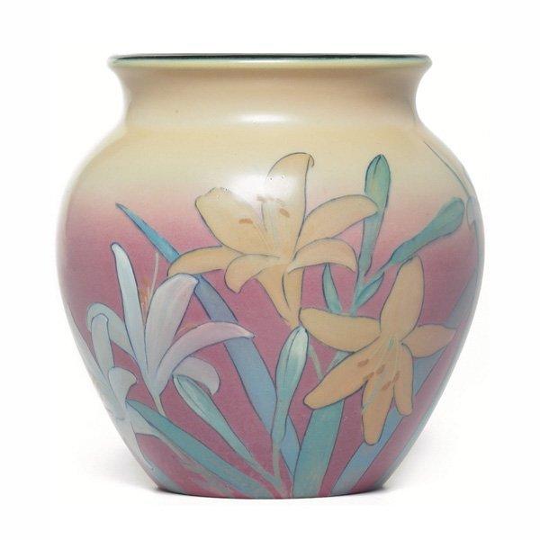 1206: Rookwood vase, matt glaze, Kataro Shirayamadani