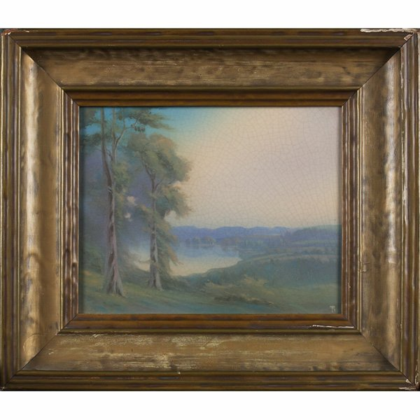 1208: Rookwood plaque, Vellum glaze landscape,  Fred Ro