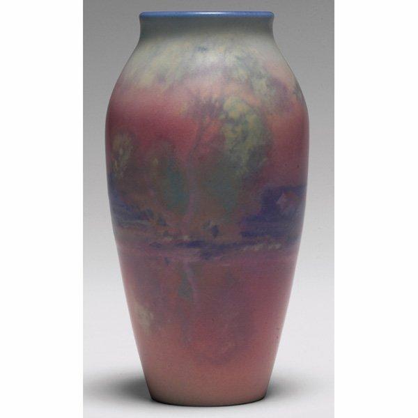 1209: Rookwood vase, Vellum glaze, landscape,  Fred Rot