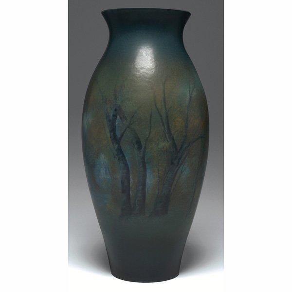 1210: Rookwood vase, Vellum glaze, landscape, Ed Diers