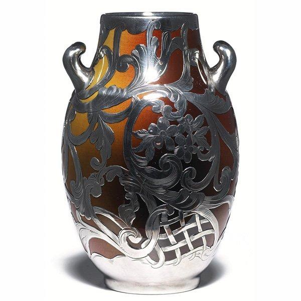 1220: Rookwood vase, Standard glaze silver overlay,  Jo