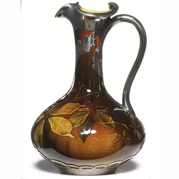 1221: Rookwood ewer, Standard glaze silver overlay,  Ka