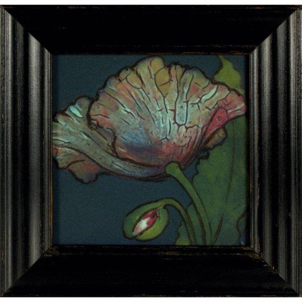 1421: Rookwood Faience tile, c. 1904, colorful poppy de
