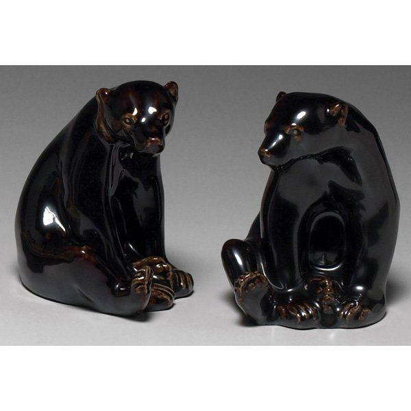 1476: Rare Rookwood bookends, pair, seated bear, Louise
