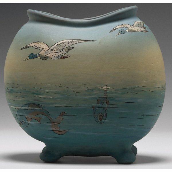 1525: Weller Dickensware vase, fish in water