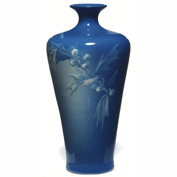 1533: Rozane Azurean vase, holly berries and leaves