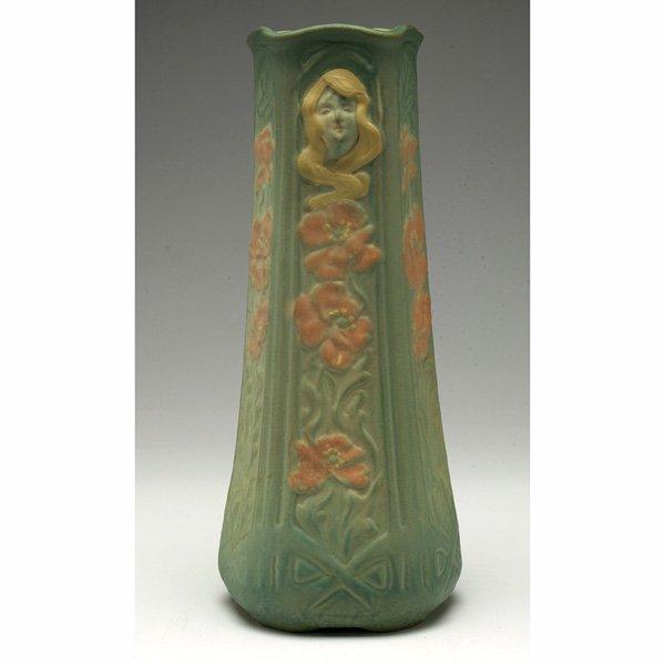 1537: Weller Art Nouveau vase, female face and poppies
