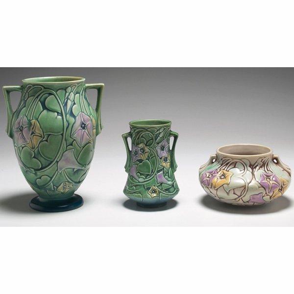 1538: Roseville Morning Glory vases, three