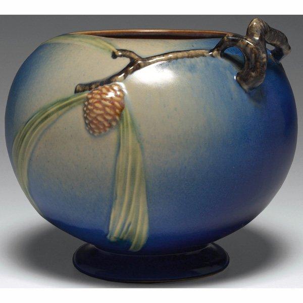 1539: Roseville Pine Cone vase, blue