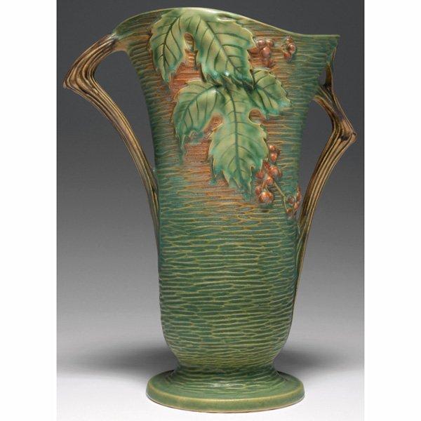 """1540: Roseville Bushberry vase, 12""""h"""