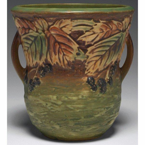1543: Roseville Blackberry vase, green and brown, 6.25h