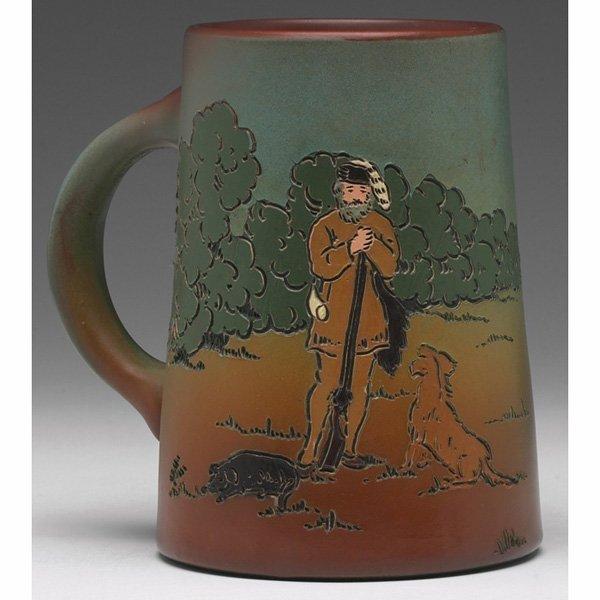 1546: Weller Dickensware vessel, frontiersman with gun