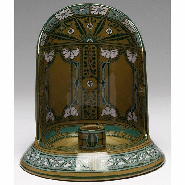 1852: Buffalo Pottery Emerald Deldare Ware chamber stic