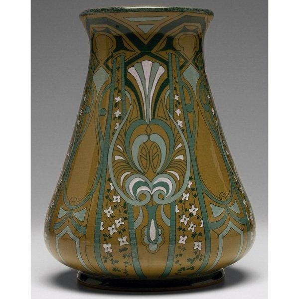 1855: Buffalo Pottery Emerald Deldare Ware vase