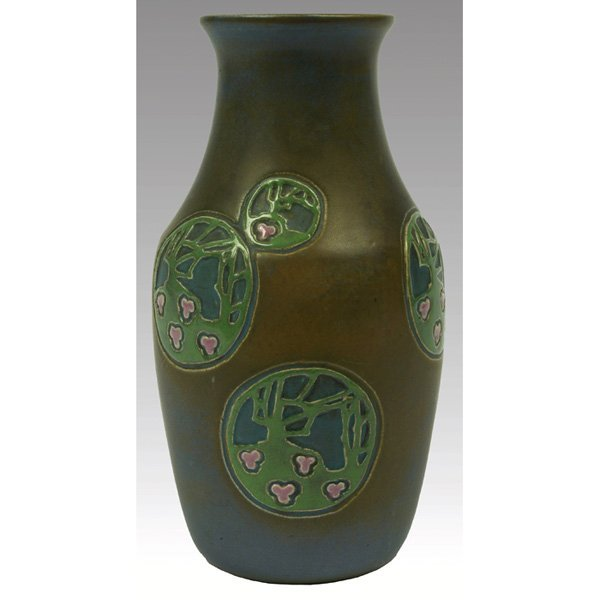 9: Overbeck vase, blue and brown matt glaze