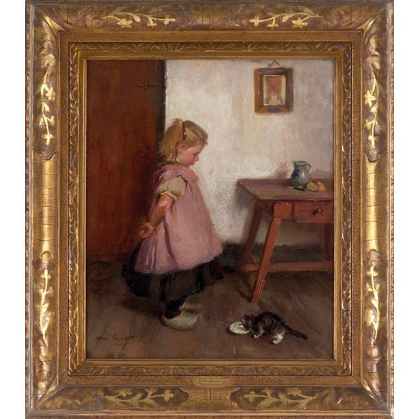 "632: Ida Marie Perrault ""Girl with Cat,"" 1908, oil"