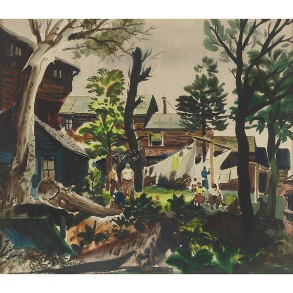 "761: Paul Hamlin  ""Wash Day,"" c. 1940, watercolor"