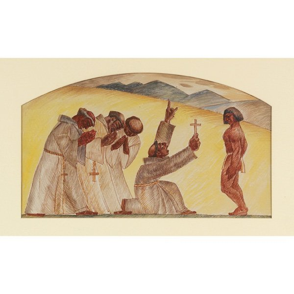 """762: Emil Jean Kosa, Jr.,""""WPA Mural Study,"""" watercolor"""