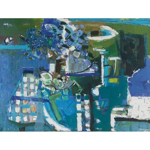 "821: Robert Aaron Frame ""Blue Still Life, oil"