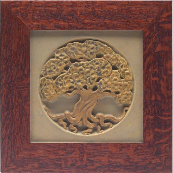 5: Rookwood Faience tile, deeply carved oak tree