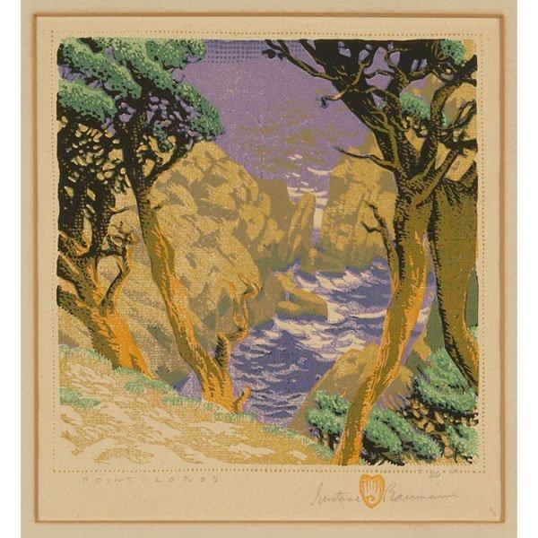 """7: Gustave Baumann woodblock, """"Point Lobos"""""""