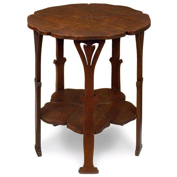 19: Gustav Stickley table, #3, carved poppy-form