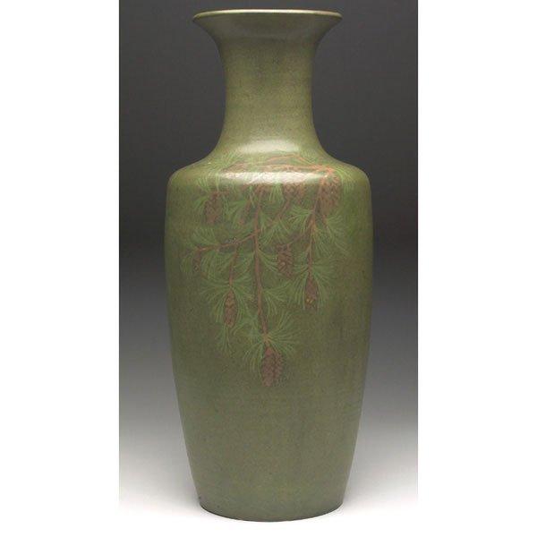 24: Walrath vase, brown pine cones