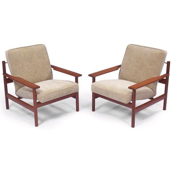 980: Grete Jalk lounge chairs, pair, teak frames