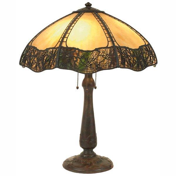 15: Handel table lamp, slag glass shade