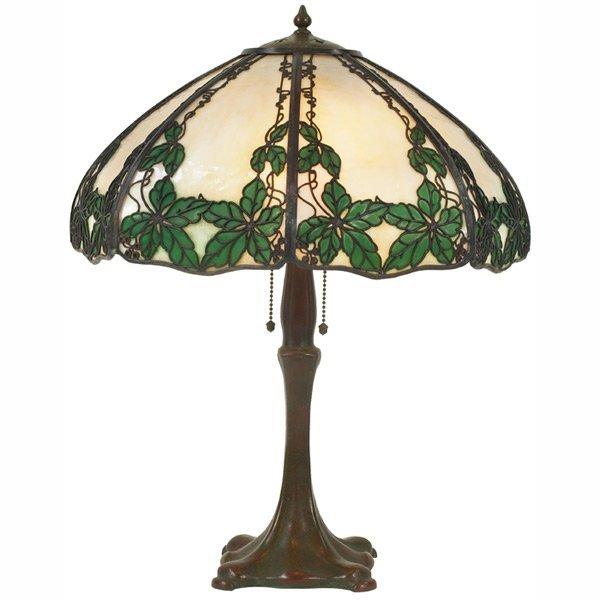 17: Handel table lamp, leaf and trellis